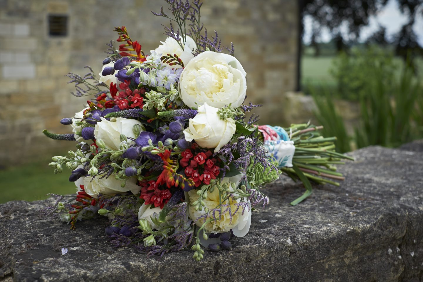 Red, white and blue wedding bouquets