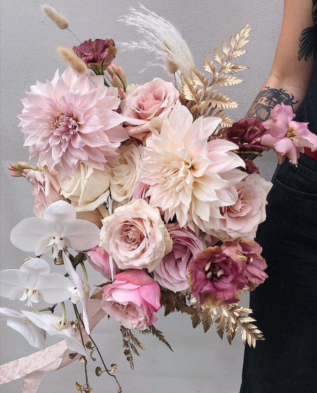 Pink and Gold Wedding bouquets