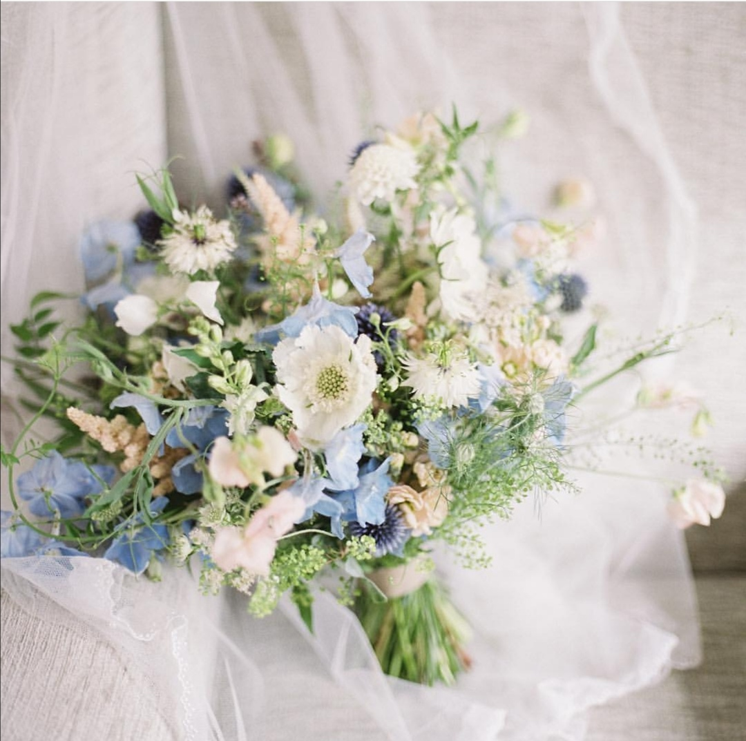Pale blue Summer bridal bouquets