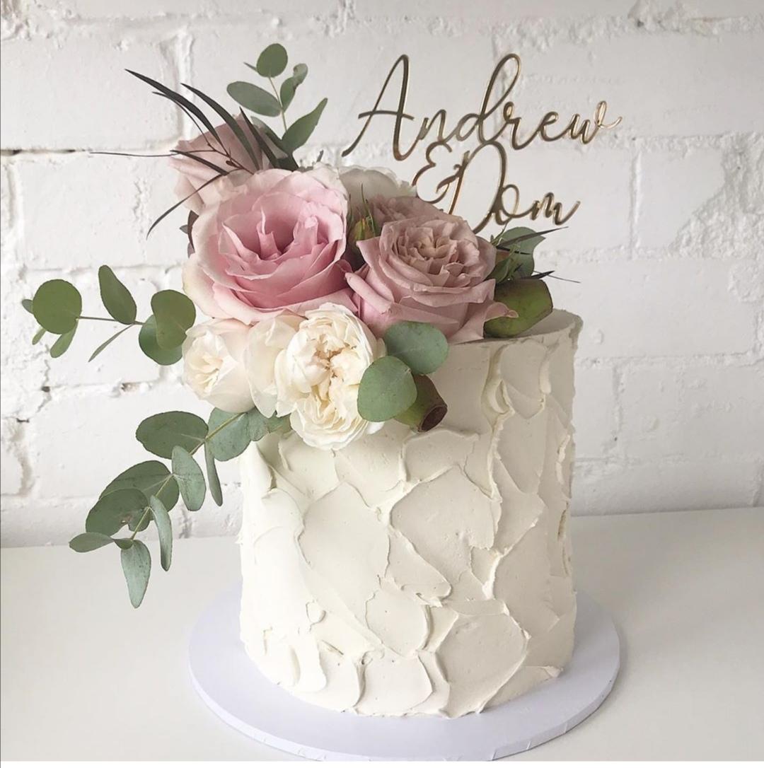 Dusty pink wedding cake
