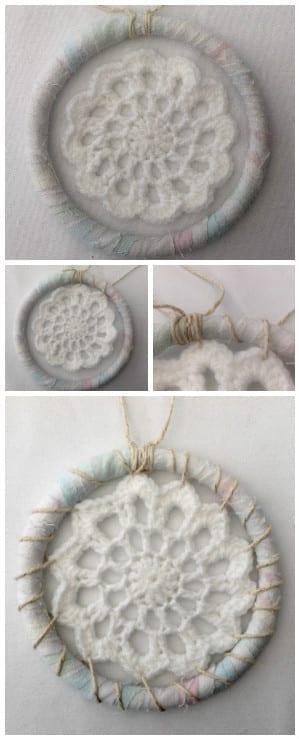 Dreamcatcher tie on a crochet doily