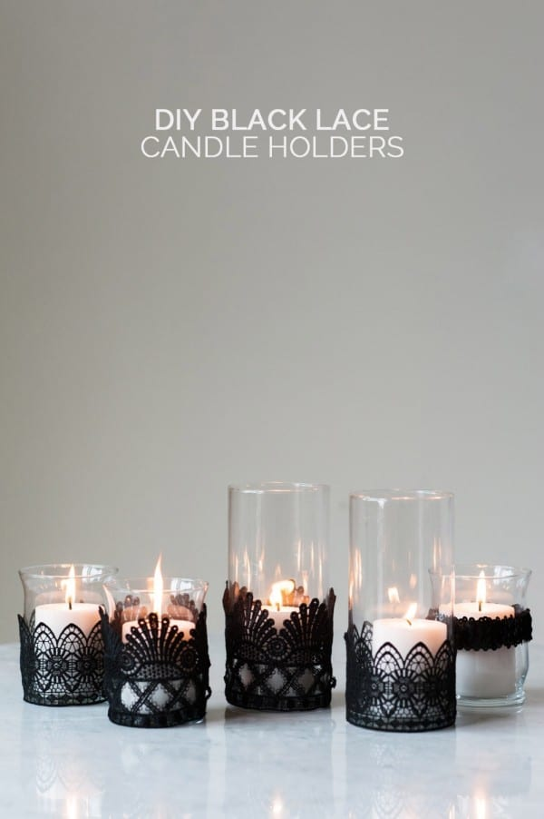Black Lace Candle Holder