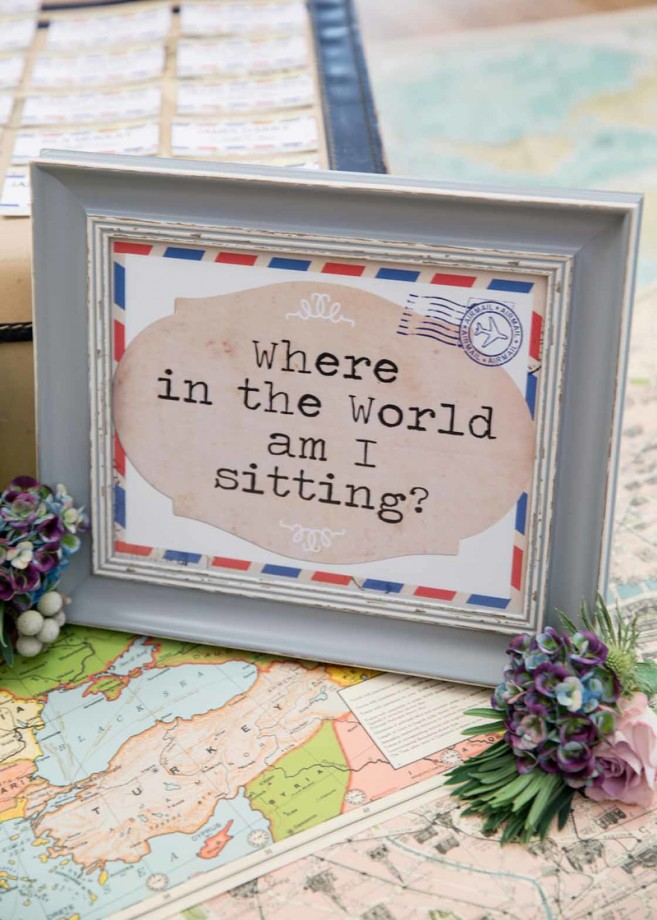 'Where in the world am I sitting?' framed poster from Bespoke Bride