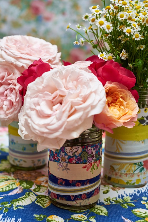 Fabric Tin Cans with flowers