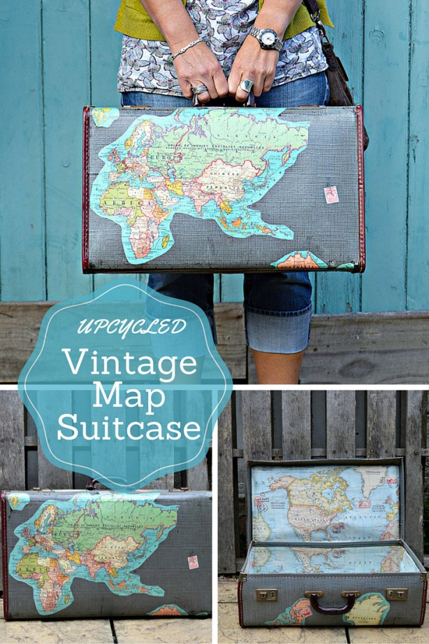 A collage of an upcycled vintage suitcase covered in a map by Pillar Box Blue