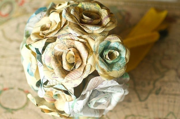 A bouquet of paper roses made from maps by Hayley Sierra