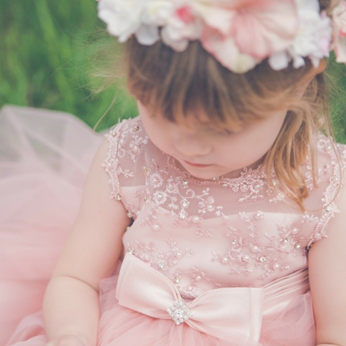 Pink Flowergirl DRess with Floral Headband
