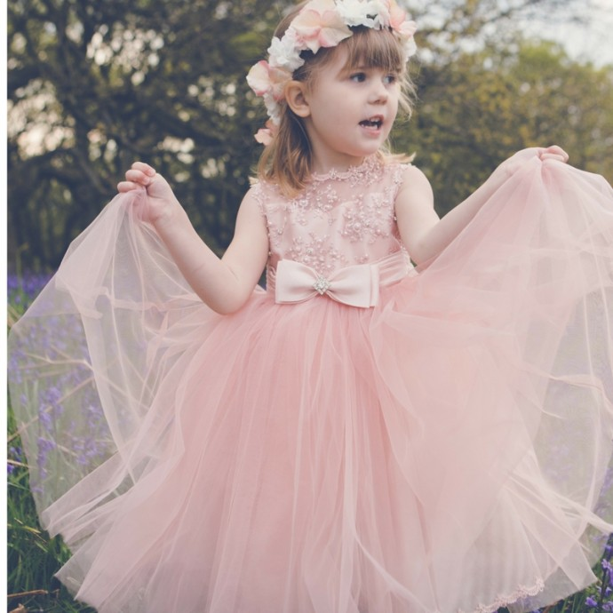 Pink Flowergirl Dress and Floral Headband