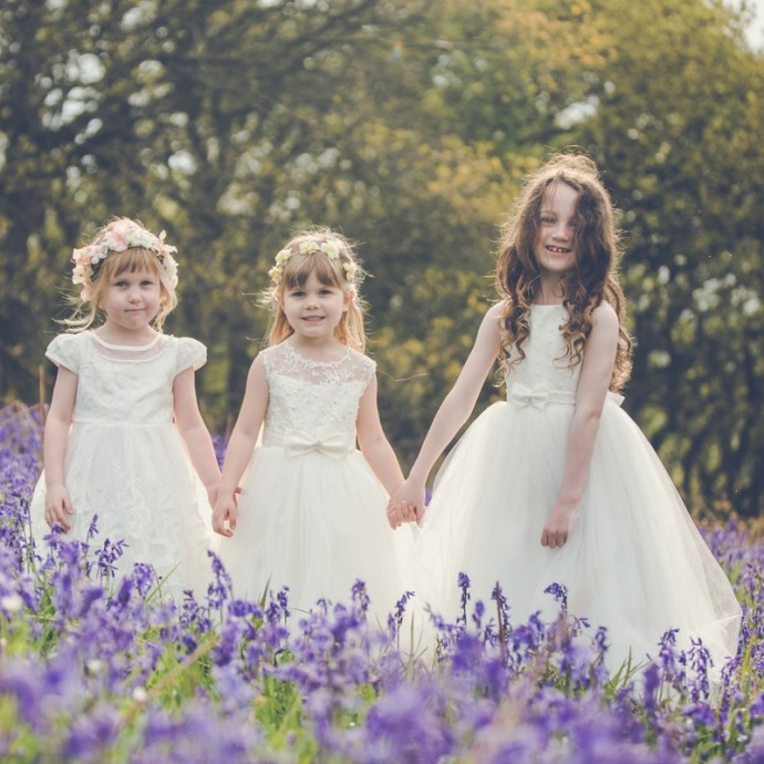 Ivory Flowergirl Dresses and Floral Headbands
