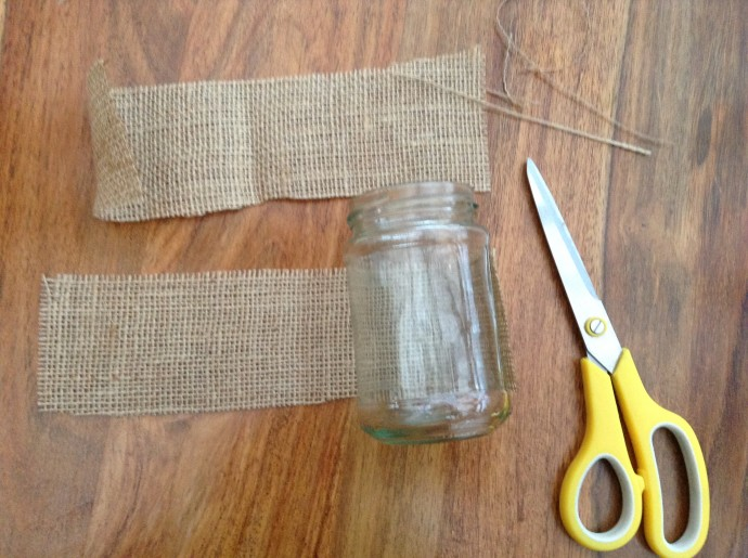 Cut the Hessian to size of the jar