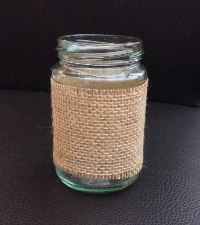 Wrap the hessian around the jar and glue