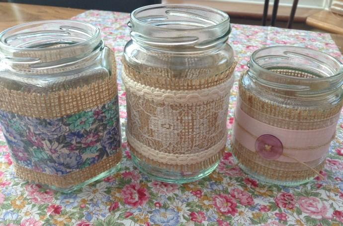 Decorated Hessian Jars