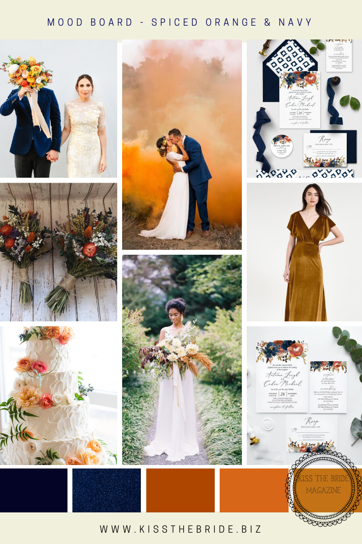 Orange spice and Navy Wedding