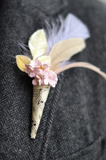 Vintage Music Sheet Boutonniere