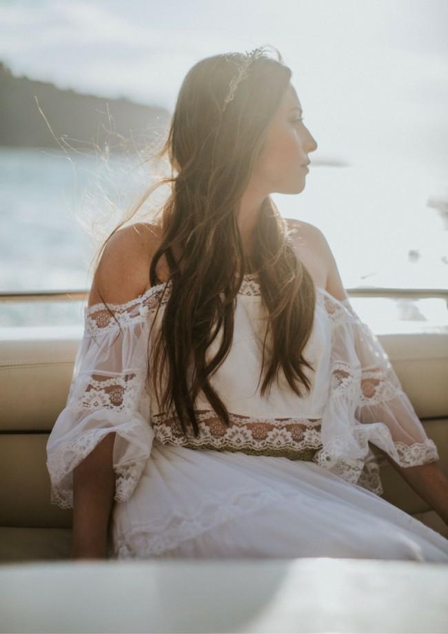 70's off the shoulder Vintage gown