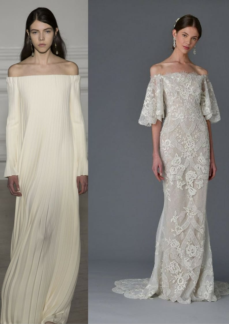 Valentino and Reem Acra off the shoulder wedding dresses