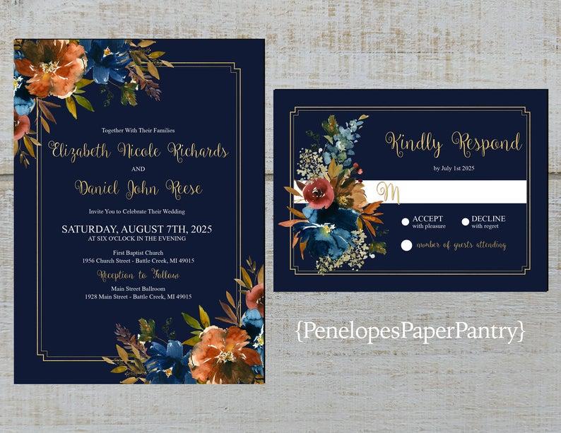 Navy and Orange Wedding stationery