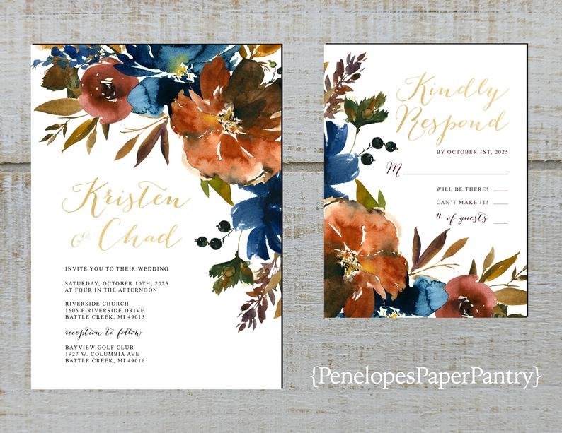 Navy and Amber wedding stationery
