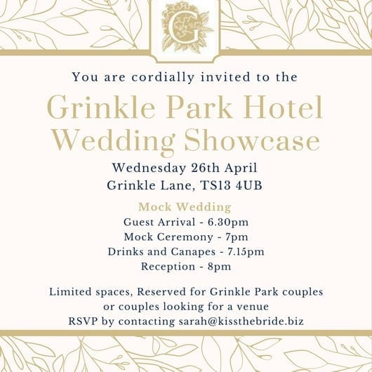 Grinkle Park Mock Wedding Invite 26th