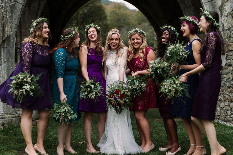 Jewel coloured bridesmaid dresses