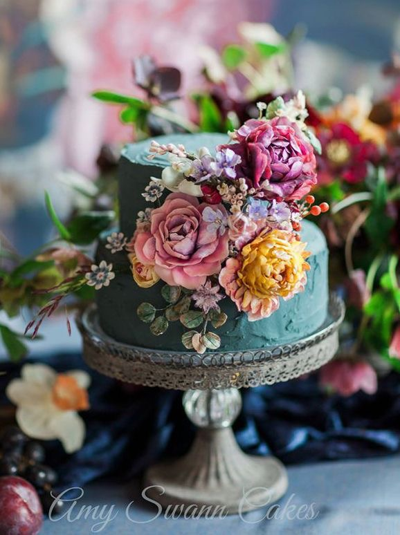Jewel coloured floral wedding cake