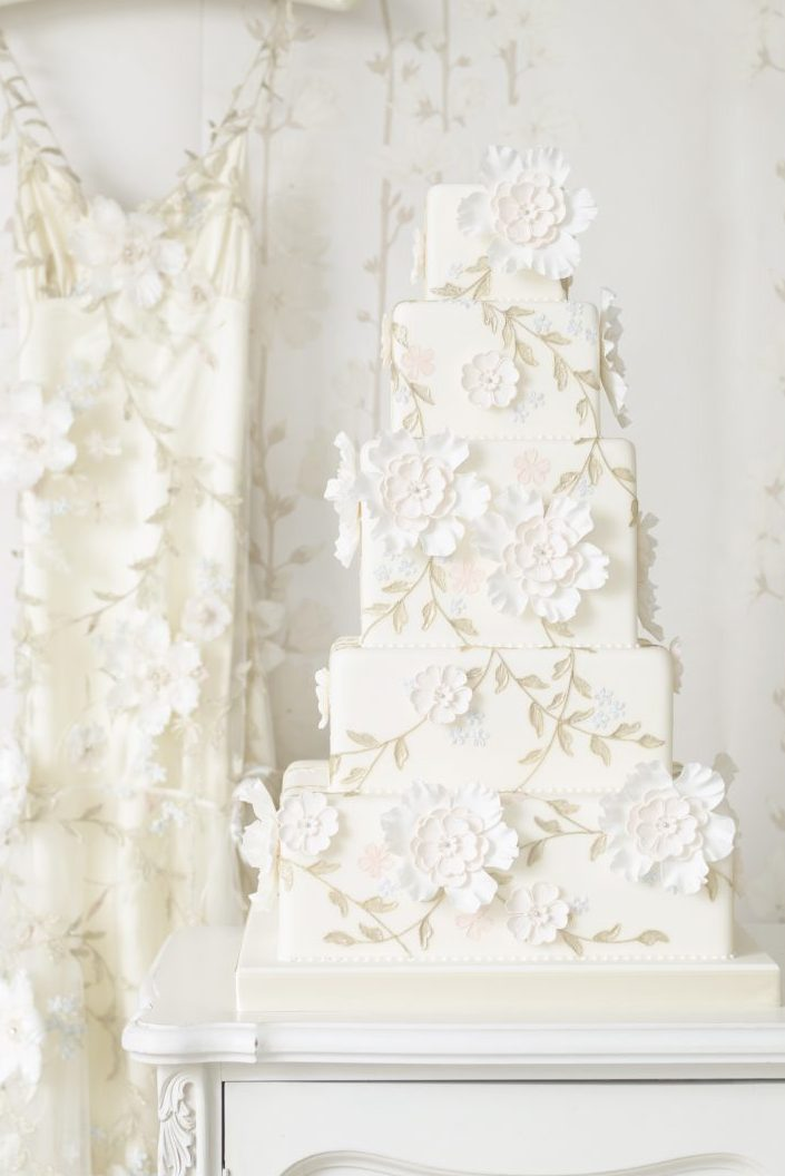 Traditional 5 tier white wedding cake