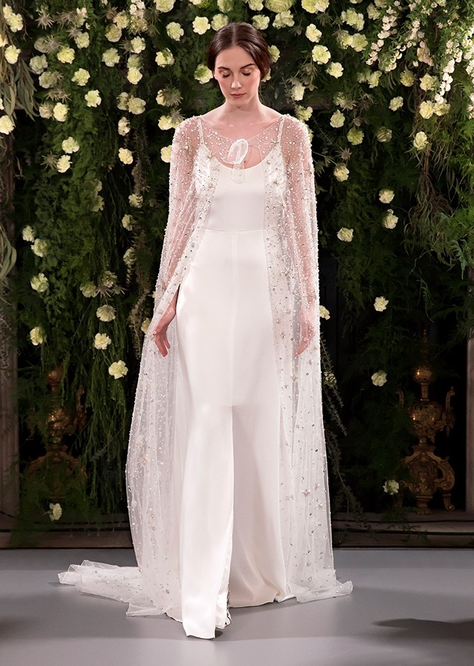 Jenny Packham Silk slip wedding dress and glitter cape