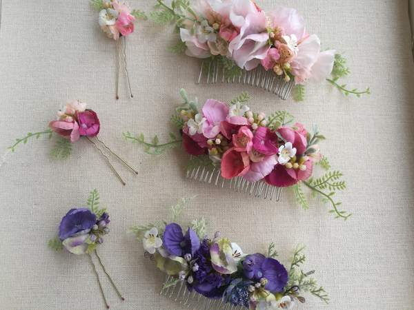Flowers in bridal hairstyle