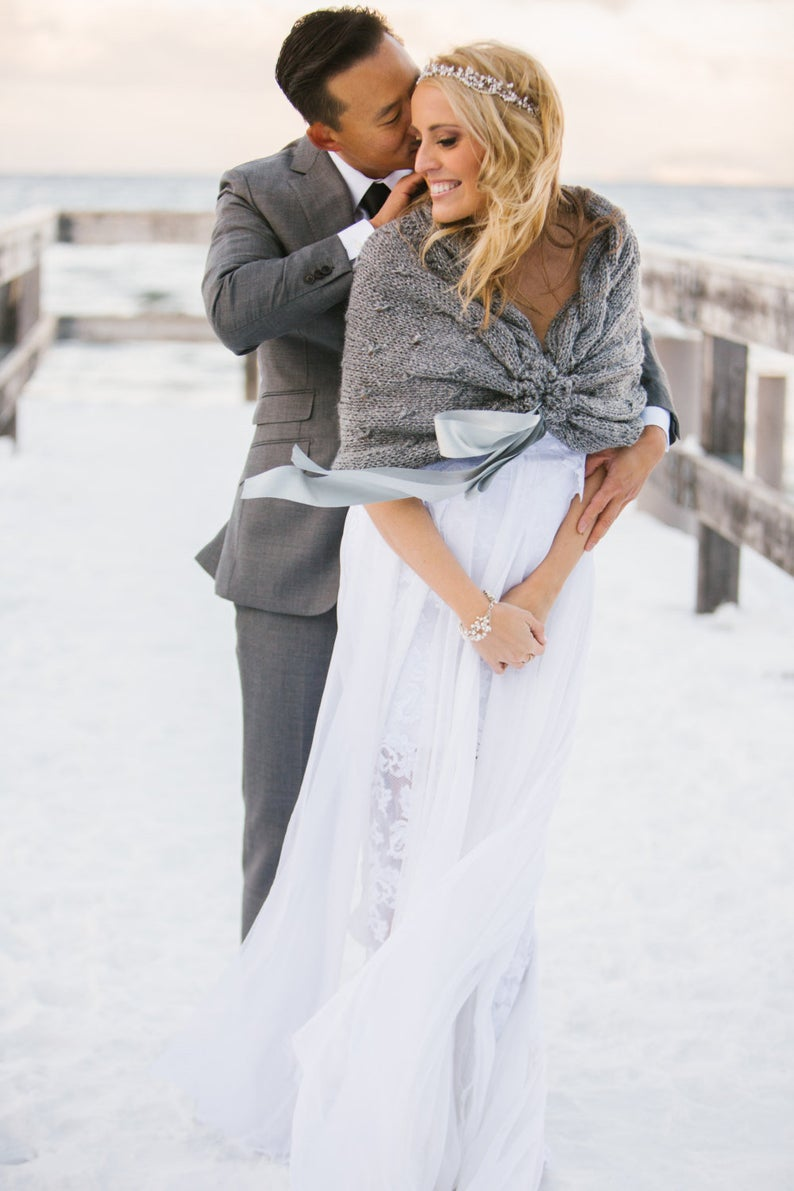 Grey wedding shawl