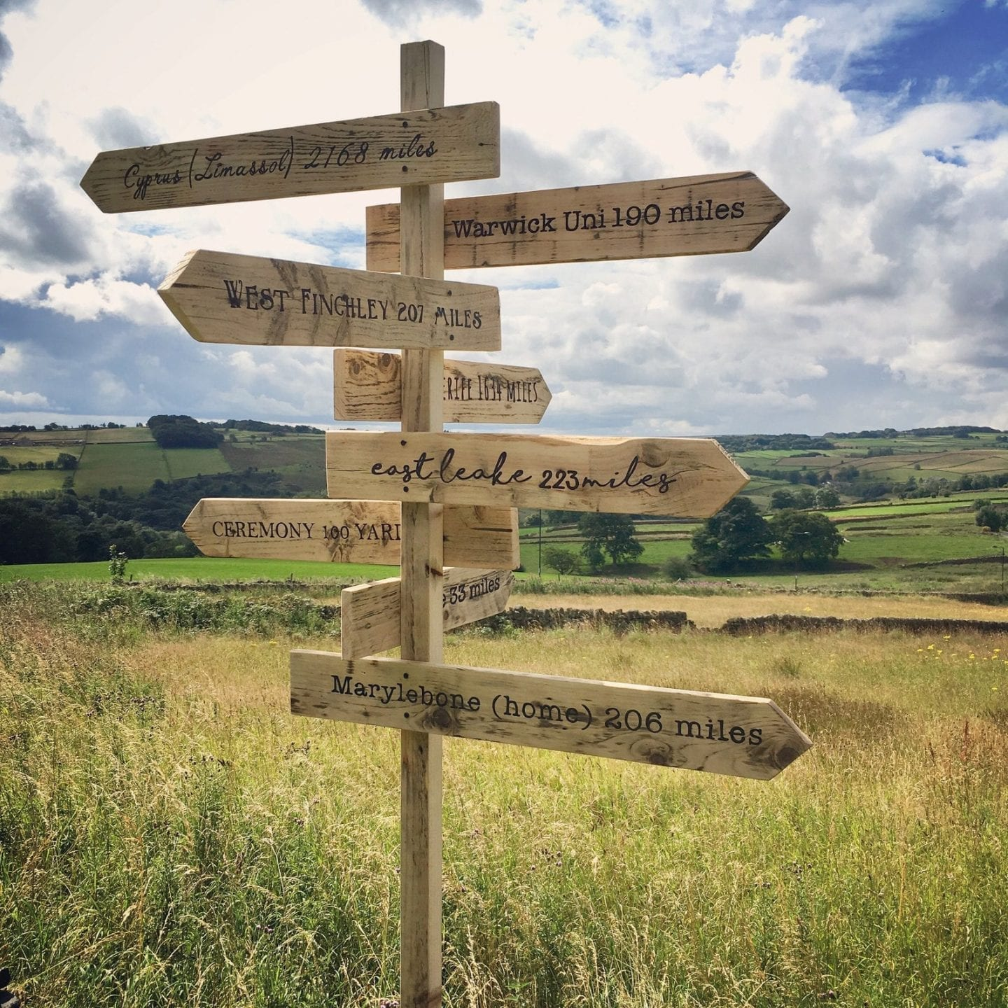 Large Wooden wedding signpost