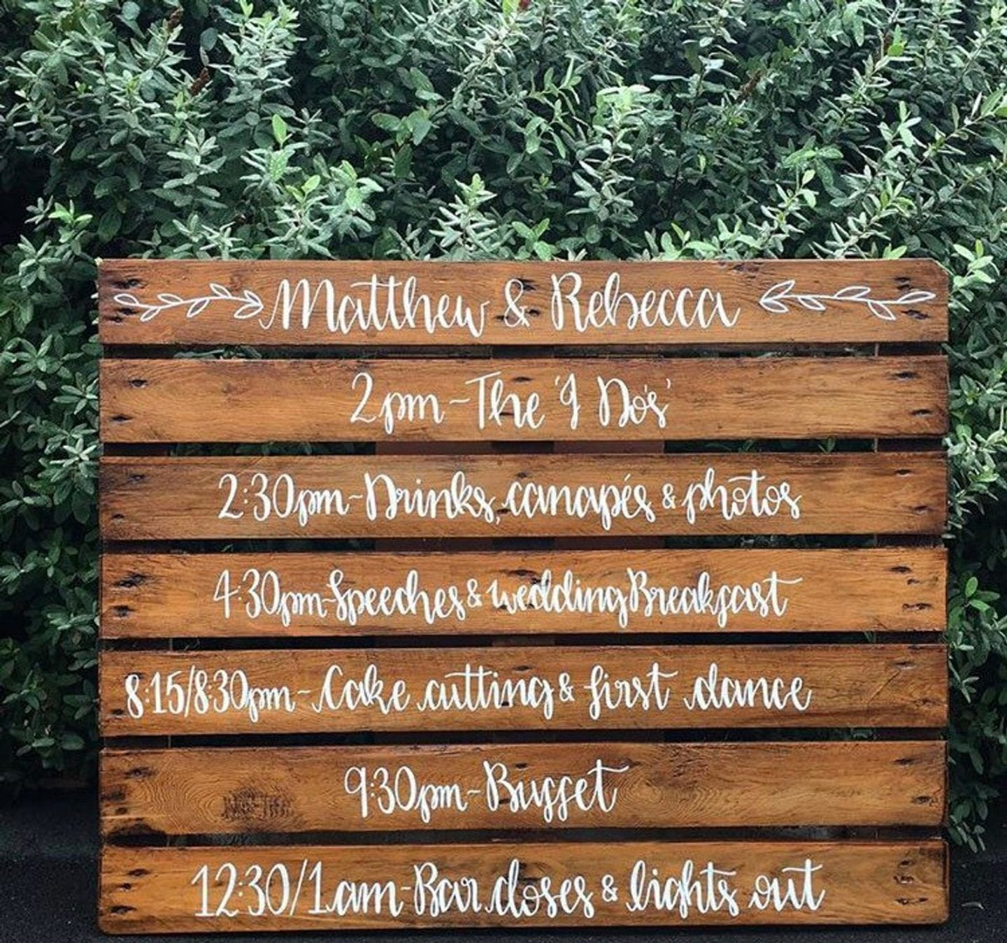 Wedding pallet order of the day