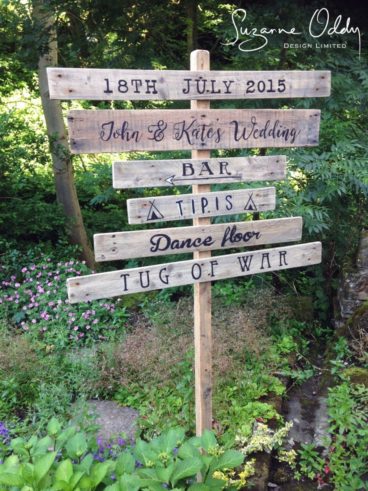 rustic wedding signpost
