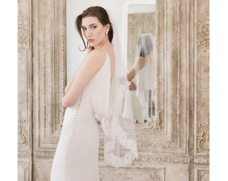 Waist length wedding veil by britten