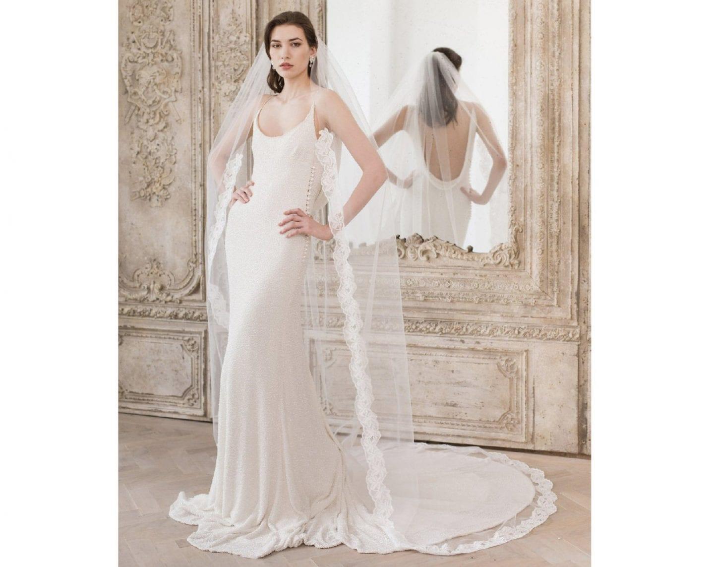 Floor Length Lace Edge Wedding Veil