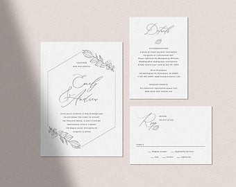 Minimalist wedding stationery design