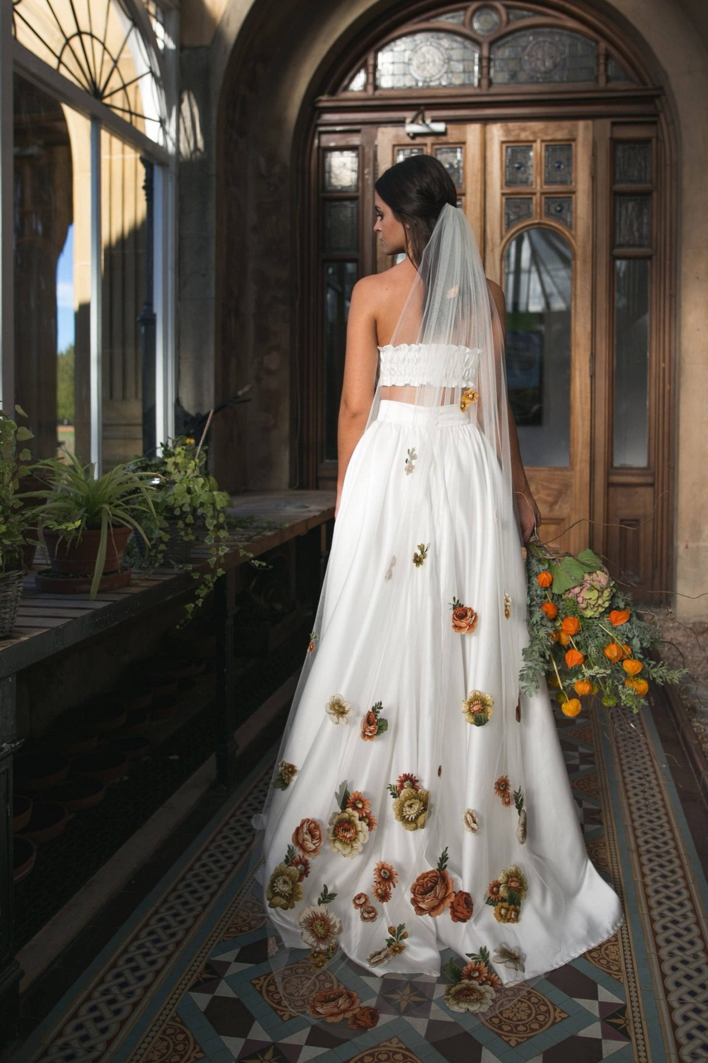 Floral full length quirky wedding veil