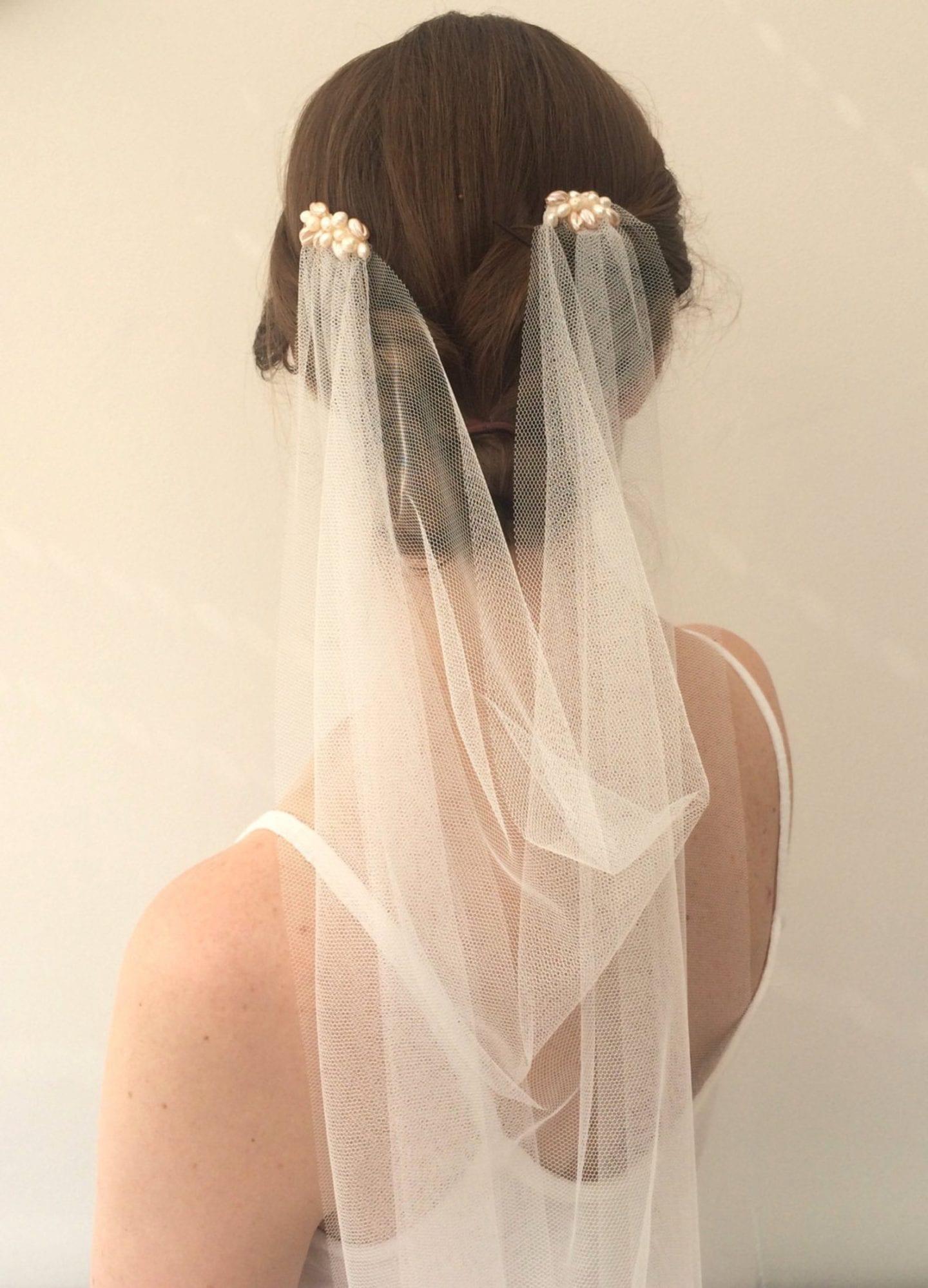 Silk tulle vintage wedding veil