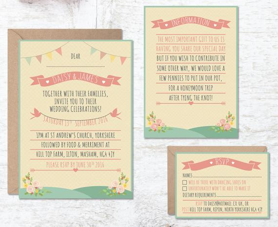 Festival wedding invite