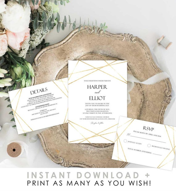 Gold geometric wedding invite