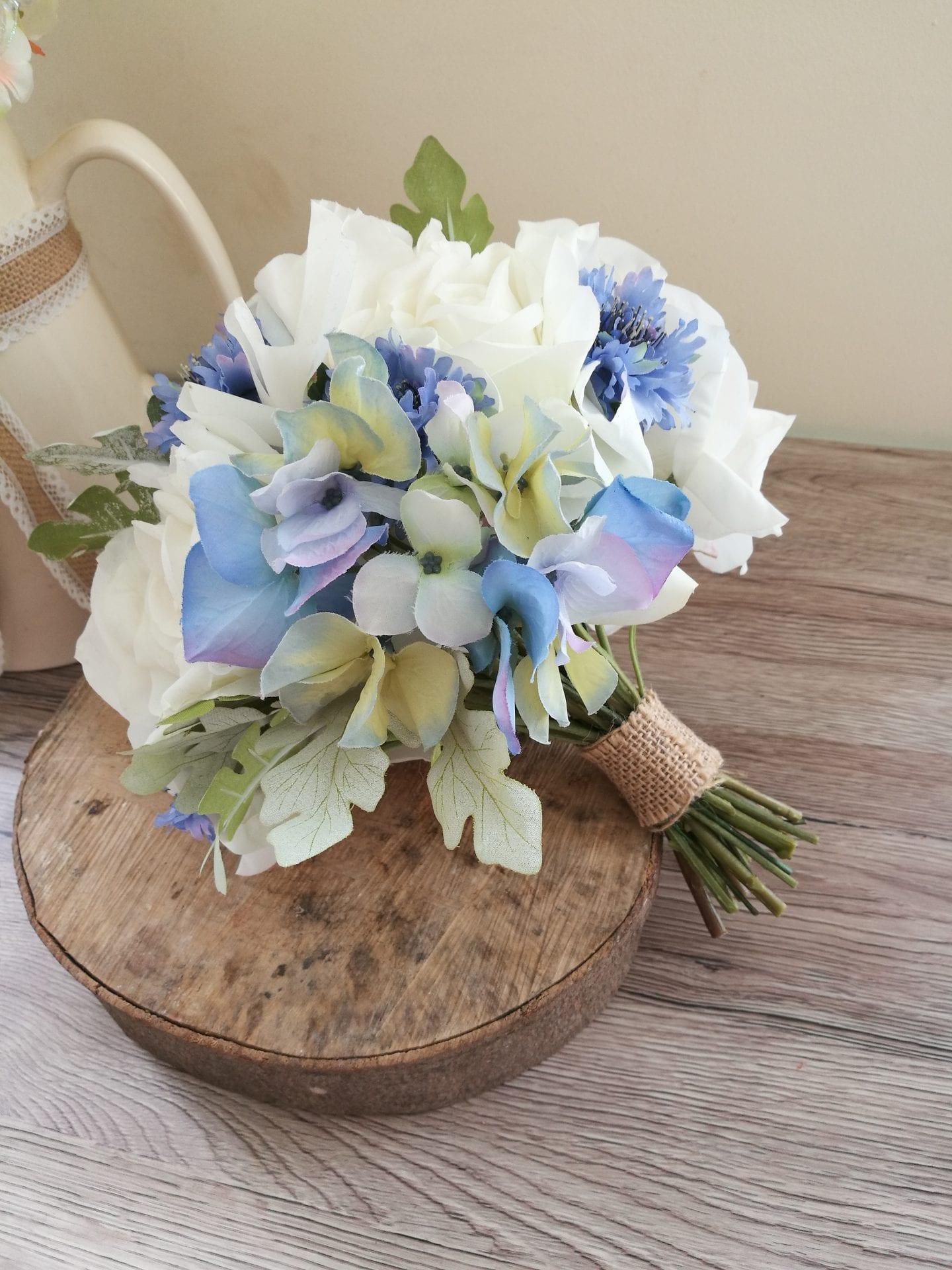 Pale blue hydrangea wedding bouquet