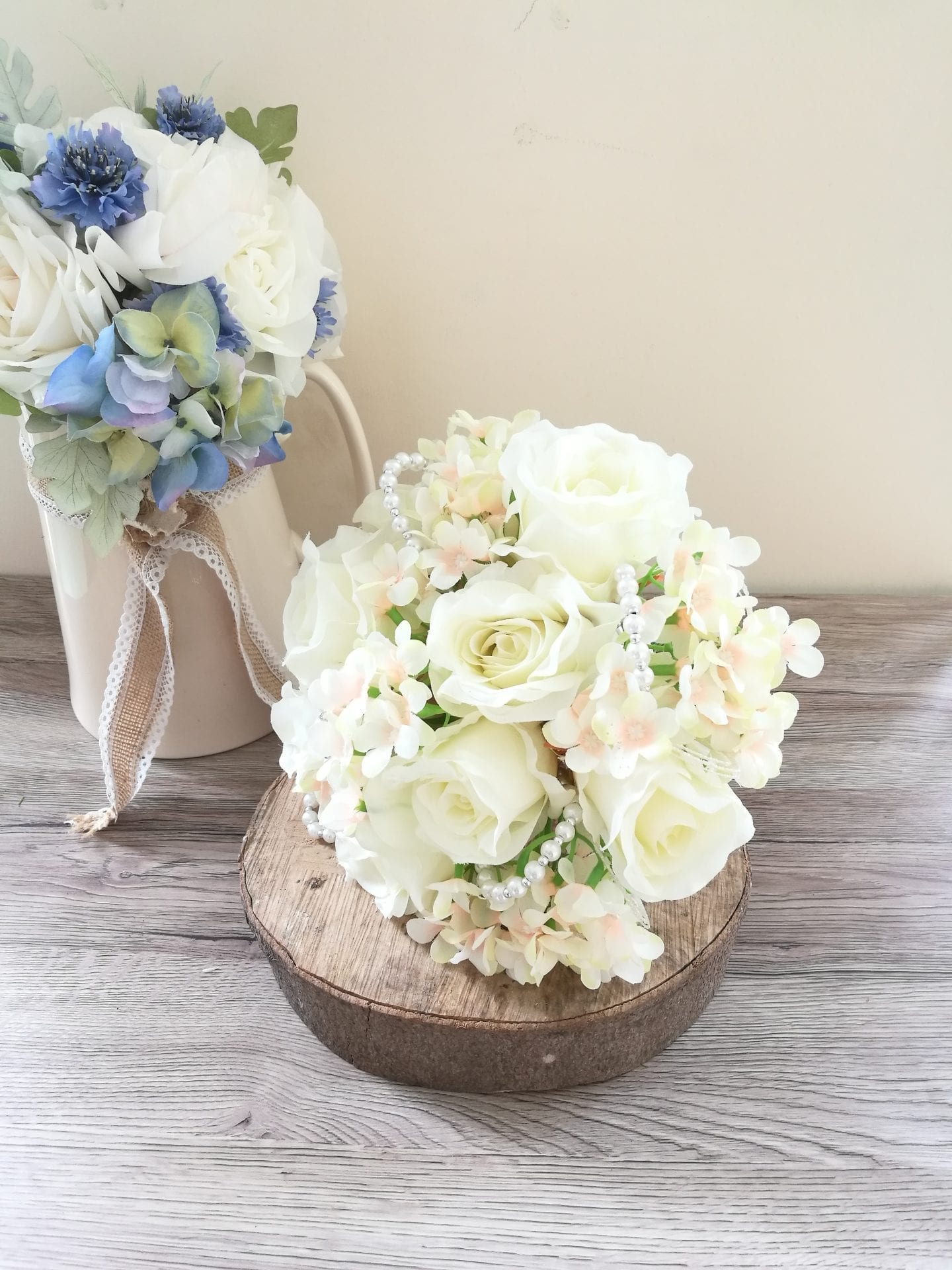 Ivory and pearl wedding bouquet