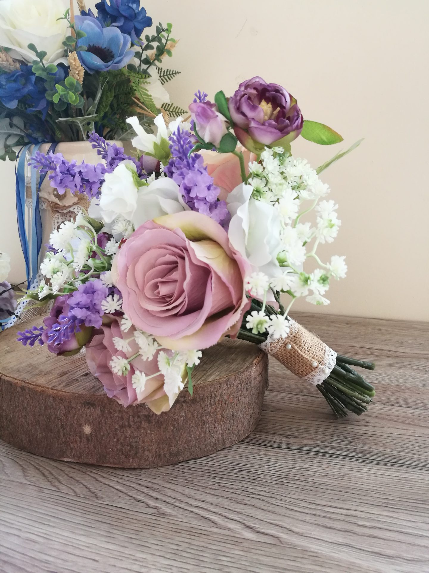 Lavender silk wedding bouquet