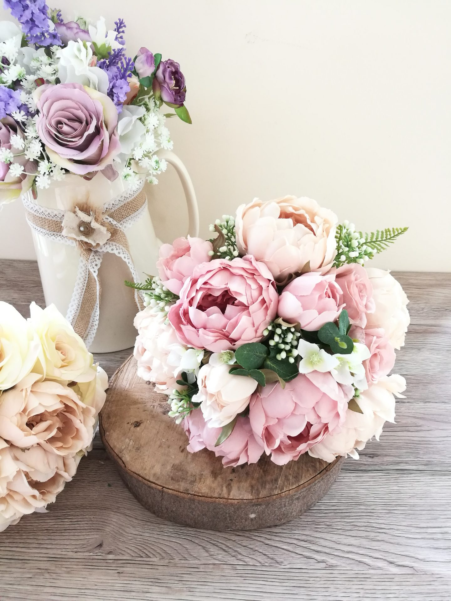Pink silk flower wedding bouquet