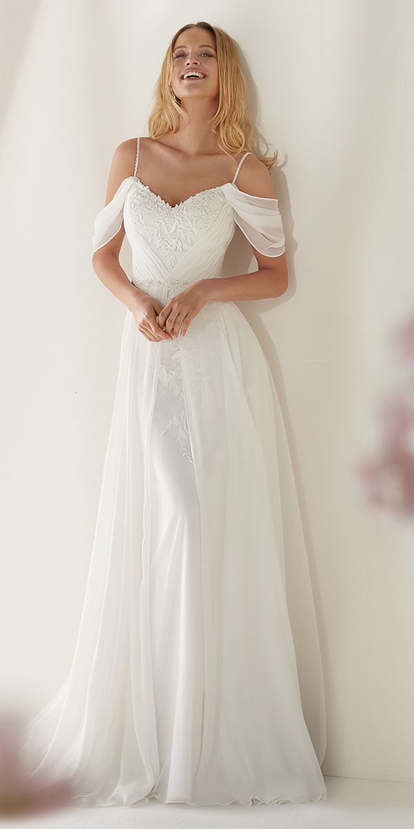 Nicole Sposa off the shoulder wedding dress