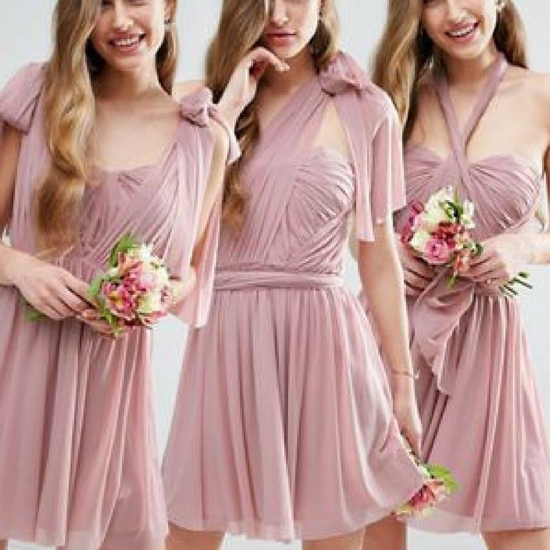 Short Dusky Pink Bridesmaid Dresses