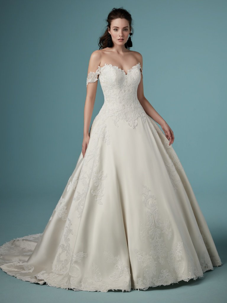 mikado silk off the shoulder wedding dress