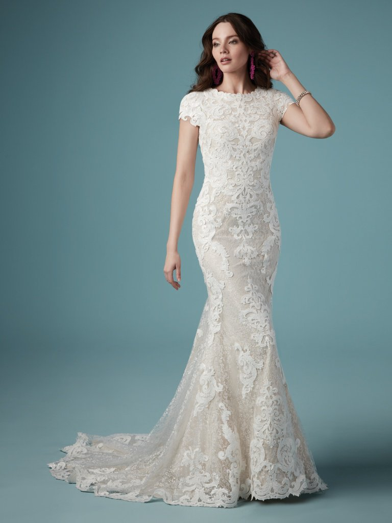 Maggie Sottero full length lace sheath Wedding Dress
