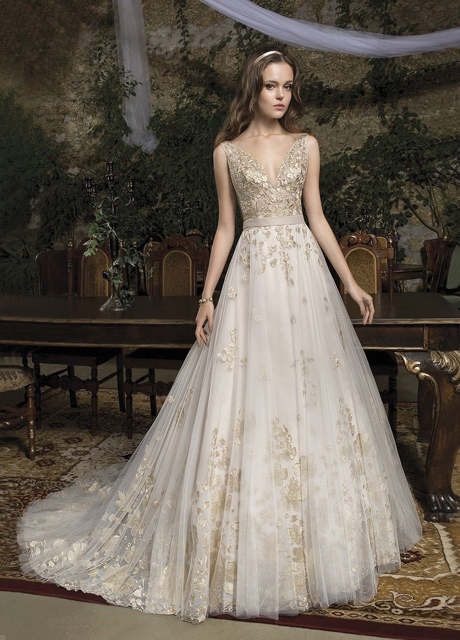 Cosmobella Style 7944 gold and ivory wedding dress