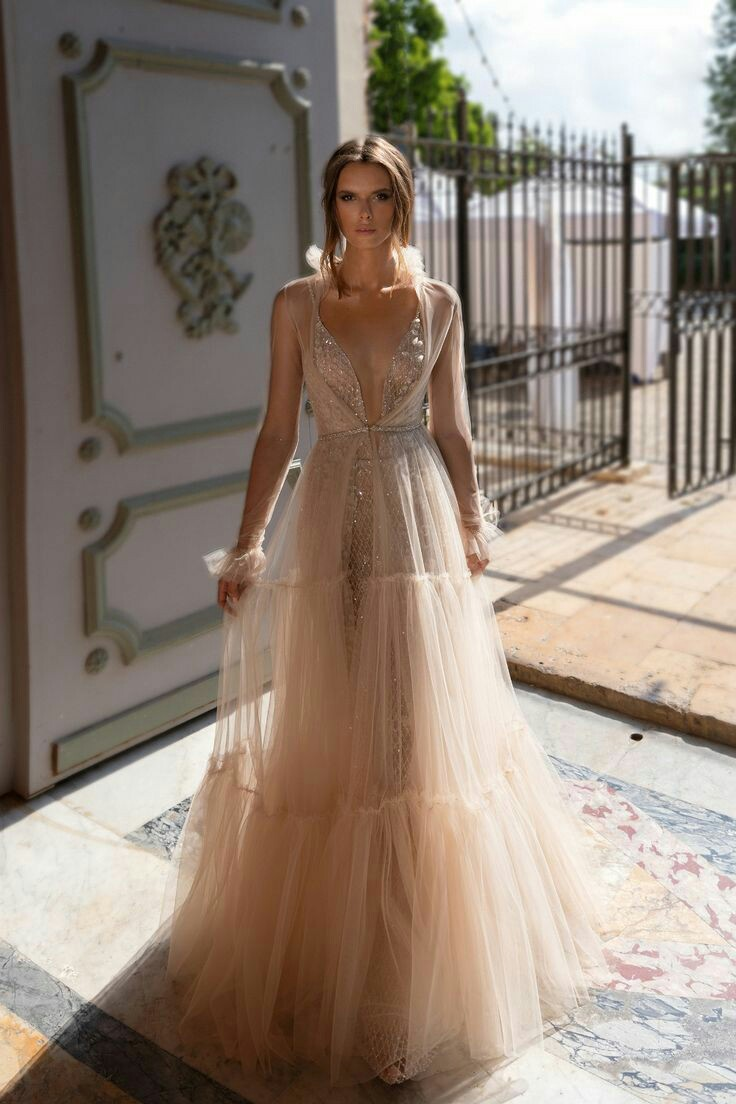 Gold sparkly tulle wedding dress