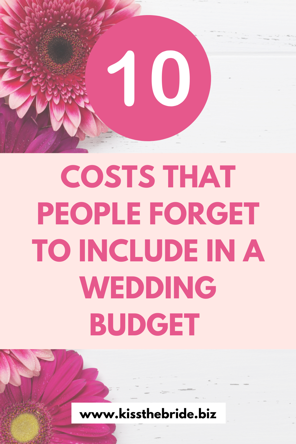 Wedding costs to put in a budget